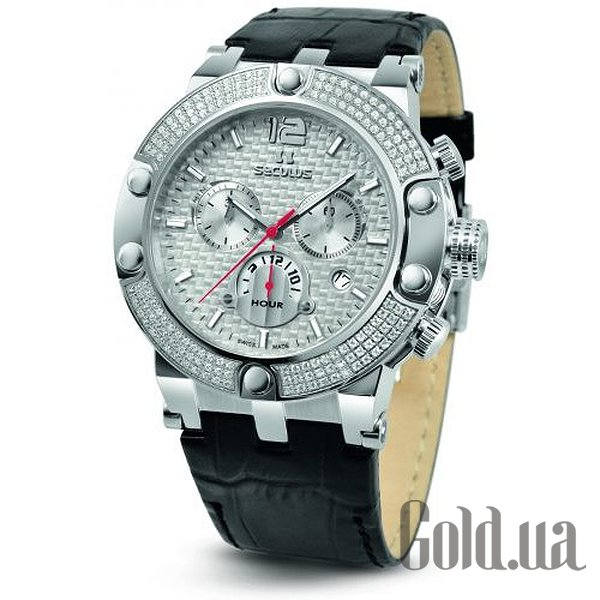 Купить Seculus 4490.2.503 white, ss stones, black leather (4490.2.503 white, ss stones, black leather )