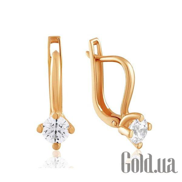 Золотые серьги с Swarovski Zirconia