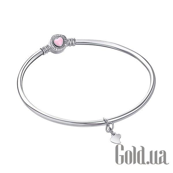 Женский серебряный браслет с куб. циркониями и эмалью, 19