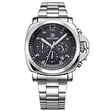 Megir Мужские часы Low-Fly Chrono Army Silver Black Silver MG3006 SS
