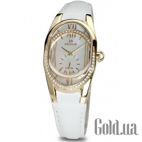 Купить Seculus 1668.2.1064 white, pvd-r cz stones, white leather