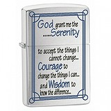 Zippo 200 Serenity Prayer Brushed Chrome 24355, 047598